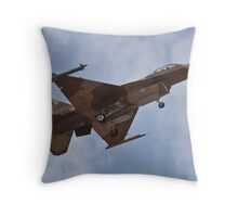 Desert camouflaged F-16 Fighting Falcon landing during Red Flag 10-2 Throw Pillow
