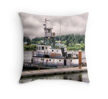 Brusco tug and barge Throw Pillow
