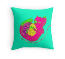 Cat and Wool Throw Pillow