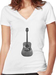 Battered Guitar Women's Fitted V-Neck T-Shirt