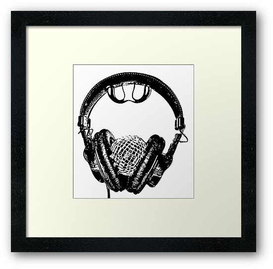 """mirrorball headphones in black & white"" by Christopher Common"