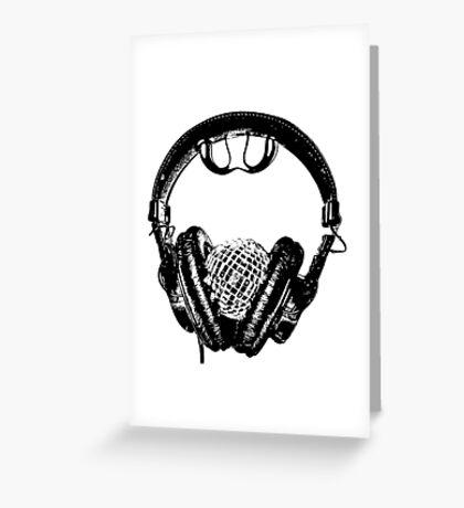 """mirrorball headphones in black & white"" Greeting Card"