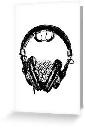 """""""mirrorball headphones in black & white"""" by Christopher Common"""