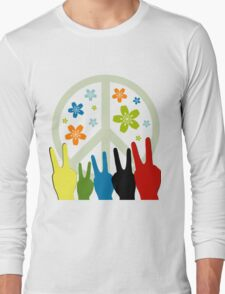 Peace Symbol Cool Illustration Long Sleeve T-Shirt