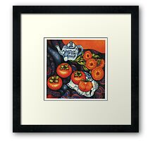 Thai Elephants with Persimmons Framed Print