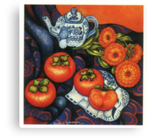 Thai Elephants with Persimmons Canvas Print