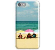 Three umbrella on a lonely sea beach iPhone Case/Skin