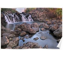 Waterfall Sunset Poster
