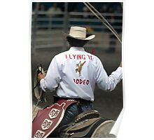 Cowboy roping an ornery bull Poster