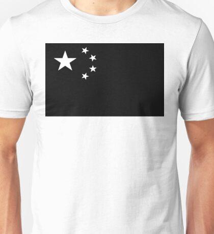 Chinese Flag Black and White Unisex T-Shirt