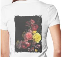 Black Cracked Roses Womens Fitted T-Shirt