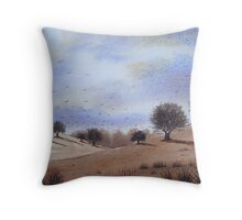 autumn landscape park trees cloudy skies Throw Pillow