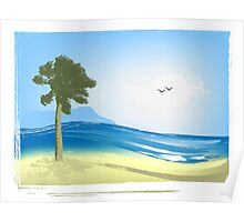 Illustrated seascape Poster