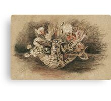 Duck Flower Basket Drawn with Pastels Canvas Print