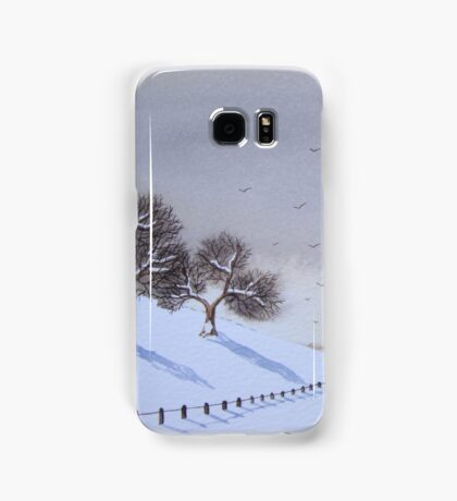 Rural snow scene landscape art for christmas  Samsung Galaxy Case/Skin