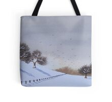 Rural snow scene landscape art for christmas  Tote Bag