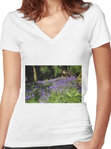 Forest Of Bluebells Women's Fitted V-Neck T-Shirt