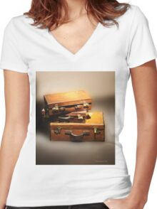 Vintage leather suitcases photo Women's Fitted V-Neck T-Shirt