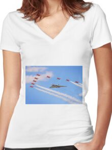 Final Vulcan Flight with The Red Arrows -  9 Women's Fitted V-Neck T-Shirt