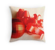 Red geodesic Christmas ball with red ribbon  on white damask linen Throw Pillow