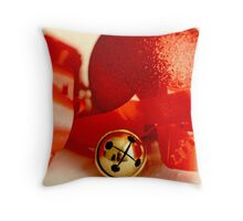 Red Christmas ball with small jingle bell and red ribbon Throw Pillow