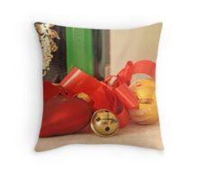 Gold ball,  red satin heart, Russian champagn bottle and red ribbon with a jingle bell on white damask Throw Pillow