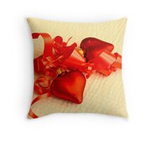 Two red hearts on white mat Throw Pillow