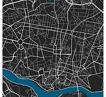Porto city map black colour by mmapprints