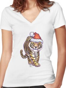 Tiger Christmas Women's Fitted V-Neck T-Shirt