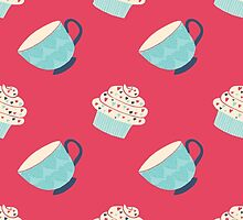 Tea and Cake Red by Illuzstrated