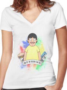 Gene Belcher Women's Fitted V-Neck T-Shirt