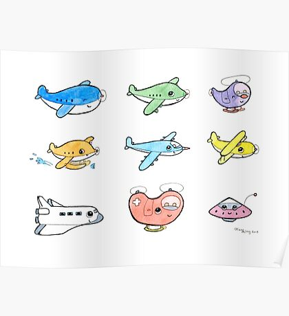 Cute airplanes  Poster