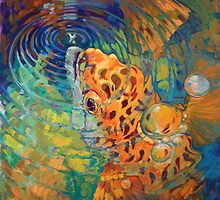 Trout Rise - Rainbow Trout And Fly - Fishing Painting by Savlen by Mike Savlen
