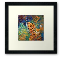Trout Rise - Rainbow Trout And Fly - Fishing Painting by Savlen Framed Print