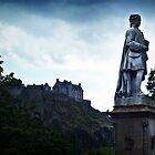 Edinburgh Castle and Allan Ramsay's Statue. by Aj Finan