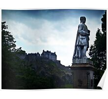 Edinburgh Castle and Allan Ramsay's Statue. Poster