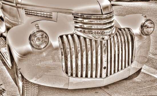 old chevy truck front-side view    B&W (sepia) by henuly1