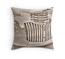old chevy truck front-side view    B&W (sepia) Throw Pillow