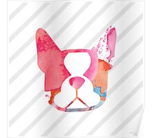 { boston terrier - pink watercolors with gray stripe - smooshface united } Poster