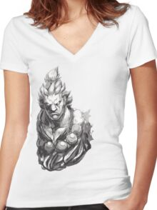 Akuma Great Demon Women's Fitted V-Neck T-Shirt