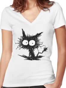 Black Unkempt Kitten GabiGabi Women's Fitted V-Neck T-Shirt