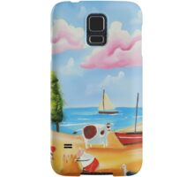 Lighthouse beach scene with animals Samsung Galaxy Case/Skin