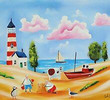 Lighthouse beach scene with animals by gordonbruce
