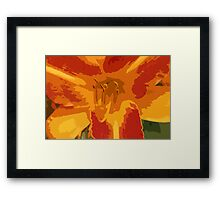 Orange, Yellow and Coral Lily Contemporary Art Framed Print