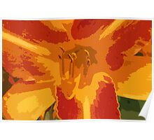 Orange, Yellow and Coral Lily Contemporary Art Poster