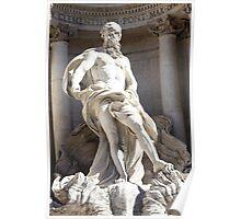 Statue In Trevi Fountain, Roma Italy Poster