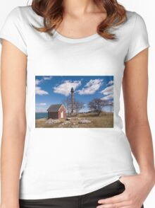 Marblehead Lighthouse, Summer Women's Fitted Scoop T-Shirt