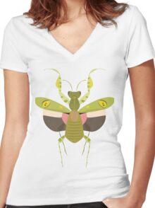 Indian Flower Mantis Women's Fitted V-Neck T-Shirt
