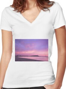 Deer Islan in Color Women's Fitted V-Neck T-Shirt