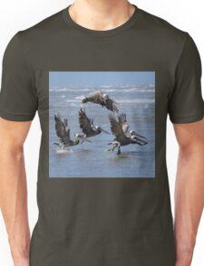 Brown Pelicans Take Flight Unisex T-Shirt